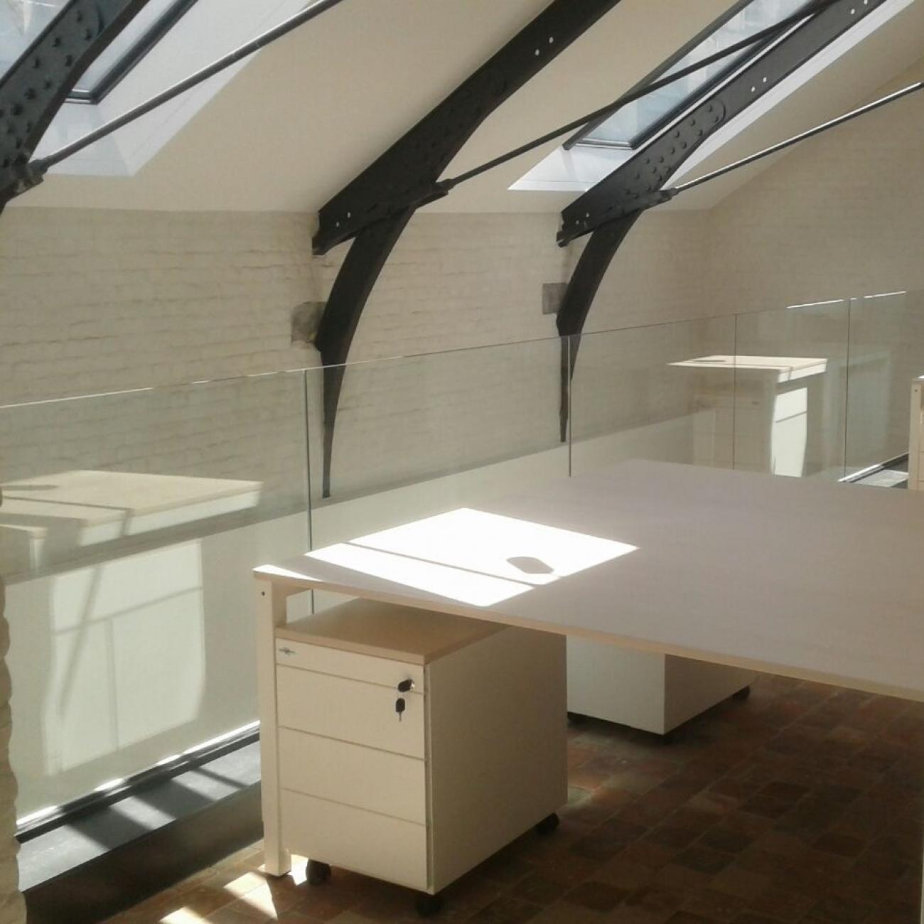 dakspanten + glazen balustrade
